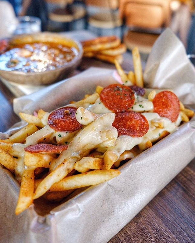 Well seasoned fries with smokey pepperoni, three-cheese sauce and savory house made bacon ketchup.