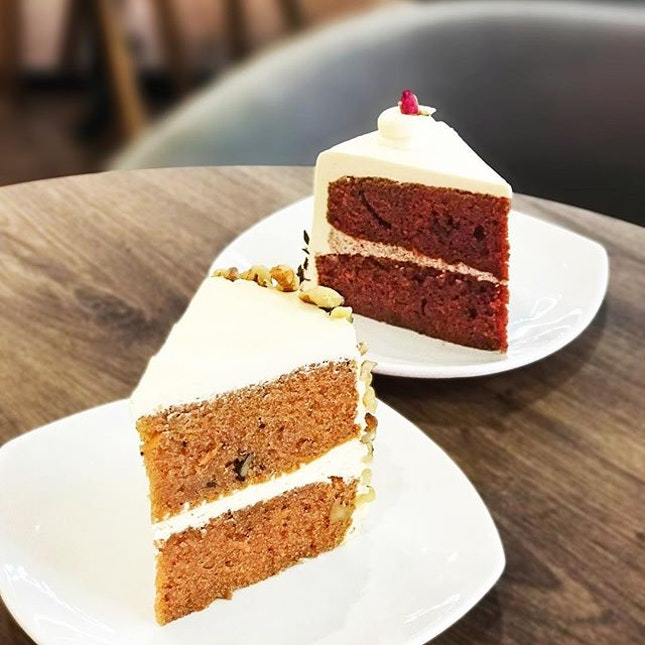 Carrot Walnut Cake [S$7.00] Red Velvet Cake [S$7.00] ・ Carrot cake was moist, soft and dense.
