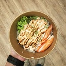 Mentaiko Salmon Bowl with Crabsticks @ Yuzu Brown Rice ($10.90) from @salmonsamurai Hopefully no more OT meals this week!