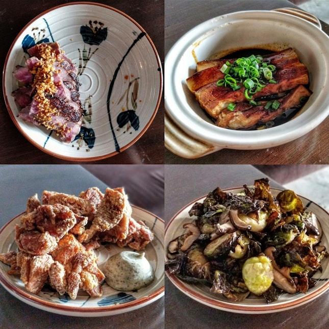 Steak   Lu Rou   Fried Chicken   Brussels Sprouts