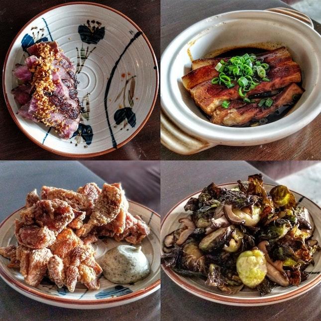 Steak | Lu Rou | Fried Chicken | Brussels Sprouts