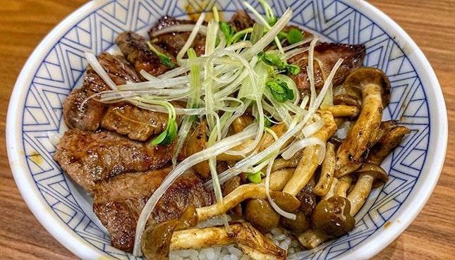 Wagyu Karubi Don : : #singapore #sg #igsg #sgig #sgfood #sgfoodies #food #foodie #foodies #burpple #burpplesg #foodporn #foodpornsg #instafood #gourmet #foodstagram #yummy #yum #foodphotography #weekend #dinner #beef #wagyu #miyazaki #don #rice #mushrooms #japanesefood