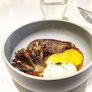 Pan Seared foie gras with sous vide eggs & mushrooms.