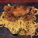 Salted Egg Yolk Pasta With Soft Shell Crab
