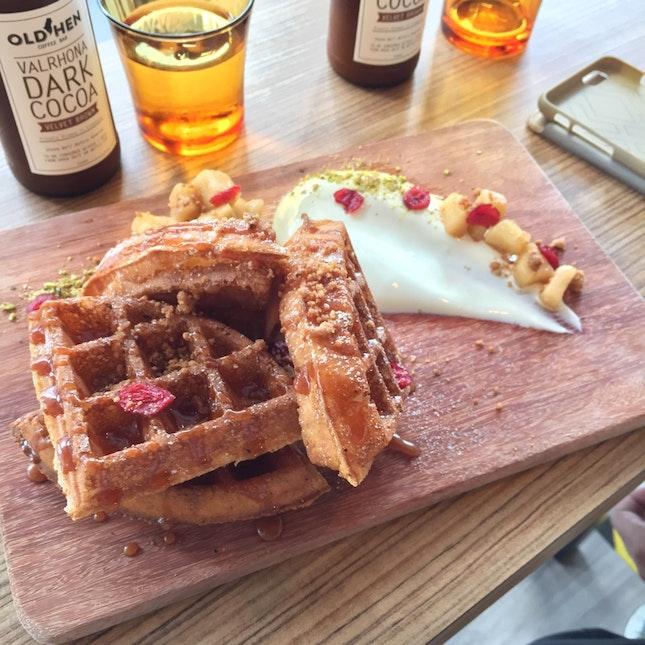 Caramel-Apple Waffles with Greek Yoghurt