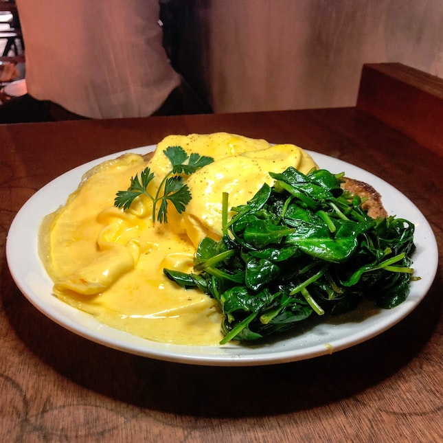 Scrambled Eggs on Toast with Wilted Spinach ($14.50)