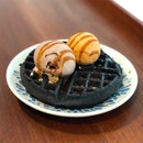 Charcoal Mochi Waffles with 2 Scoops of Gelato ($14.90)