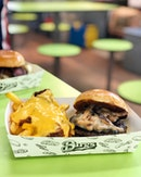 Truffle Mushroom Burger & Cuban Cheese Fries ($10)