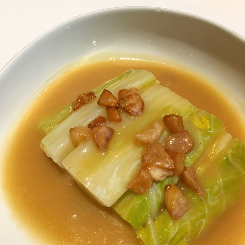 Poached Cabbage in Pork Consommé