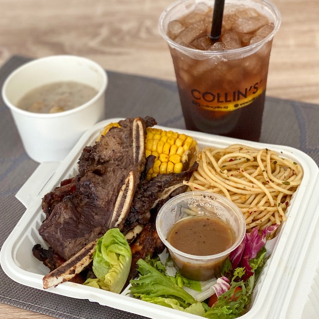 Beef Short Ribs & Chicken Chop served with Aglio Olio Pasta, Corn Cob & Salad