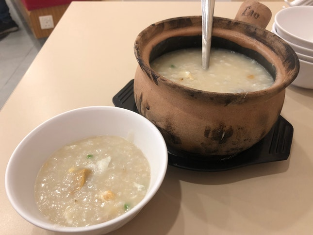 Dried Scallop Porridge With Minced Meat, Century Egg, Salted Egg And Egg