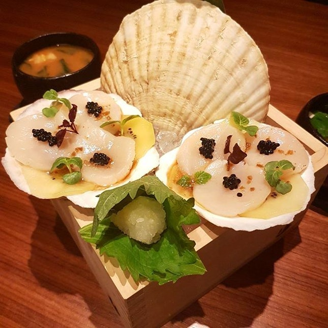 Hokkaido Scallops with kiwi and truffle yuzu  Cold dishes usually disagree with my palates but this was amazing  The combination of the yuzu and kiwi just makes the freshness of the scallops shines even more..