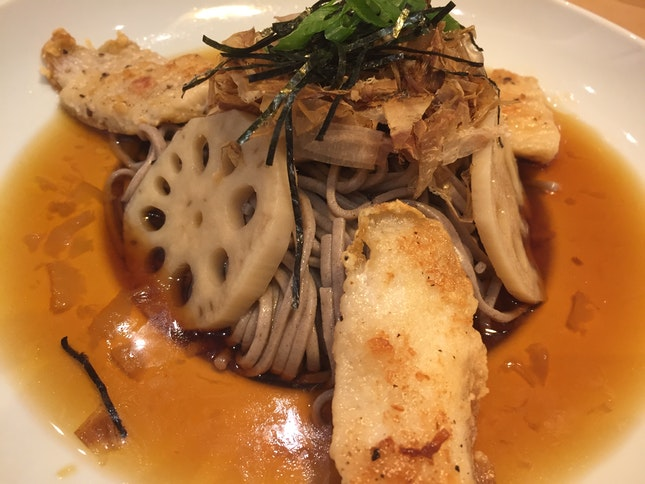 Yuzu Lotus Root Soba with Grilled Fish $9.90