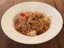 •Spaghetti Aglio e Olio• 🍝😋👍🏻🍤 Sautéed fresh tiger prawns, chilli padi, fresh basil, and cherry tomatoes.