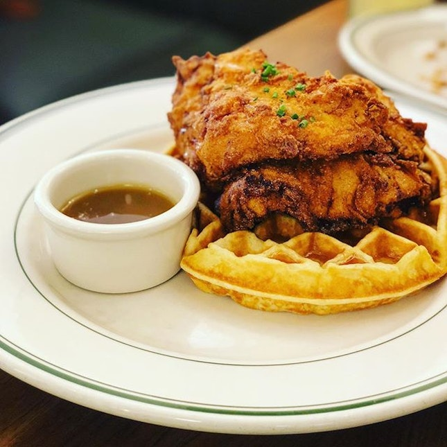 Finally got to try their famed Chicken and Waffles ($21).