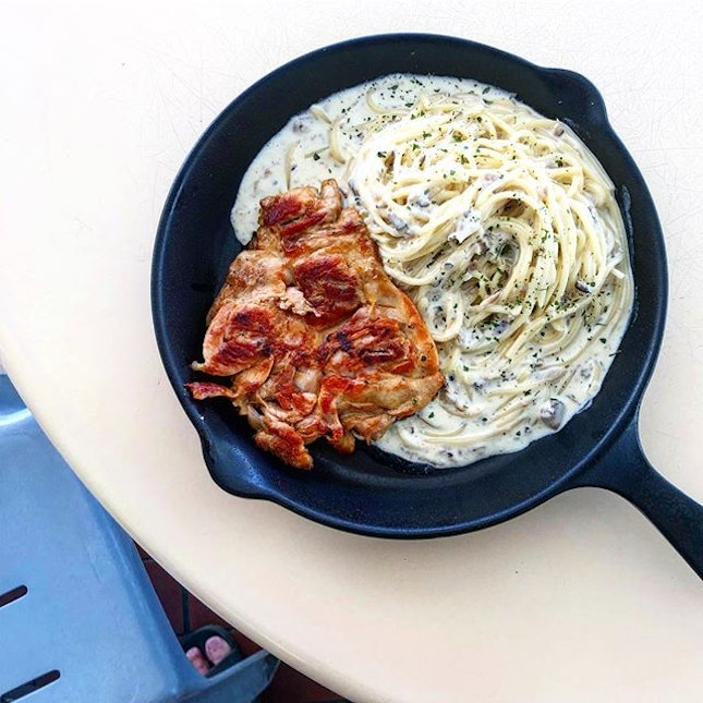 Truffle Carbonara Pasta with Char-grilled chicken ($10.90).