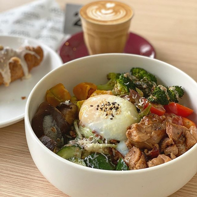 Brunch for the day: Hearty Grain Bowl with Teriyaki Chicken+ Add on egg.