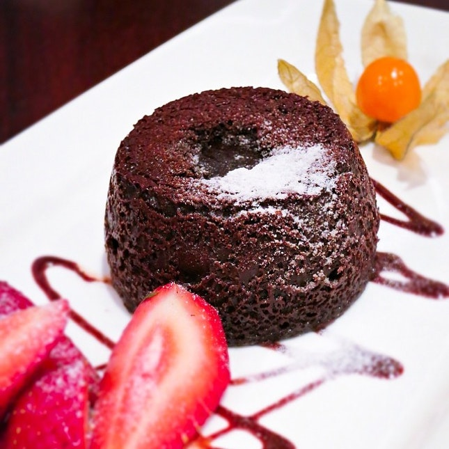 The chocolate lava cake from Pepper Steakhouse & Bistro.