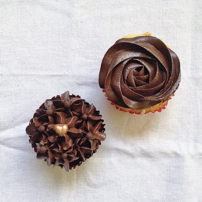 Chocolate Valrhona ($5.80) and chocolate peppermint ($6.80) cupcakes.