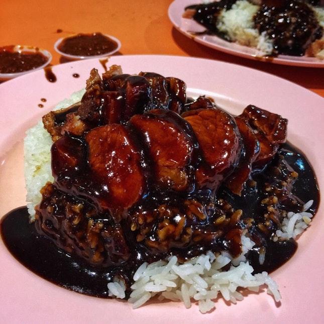 Char siew and Roast pork Rice ($5)