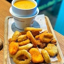 Salted Egg Platter  This platter comes with everything fried (chicken/fish nuggets, onion rings, calamari, popcorn chicken )and also a dipping salted egg fondue!