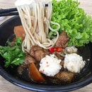 """Angelica Herbal Noodles with the springy, firm-fleshed """"sotong balls"""" again."""