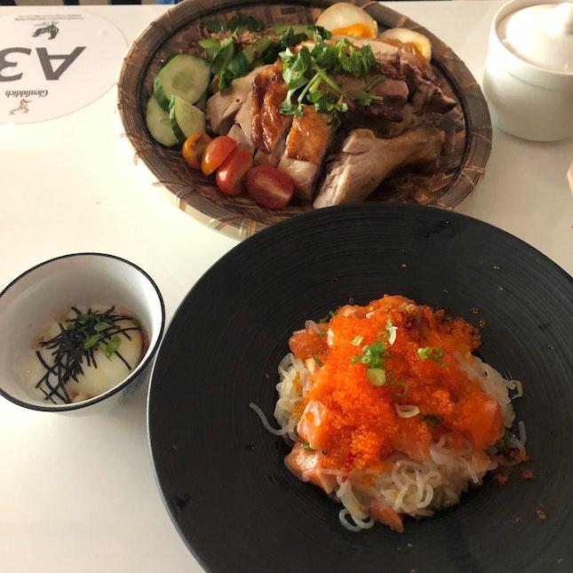 Burrple Beyond: Spicy Salmon Don, Roasted Chicken