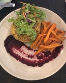 That Day's Special : Bunless Chickpea Burger with Beetroot Sambal and Sweet Potato Fries (23 SGD) .