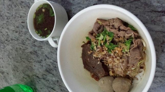 Dry Beef Noodle 8$ Plus Soup 1$