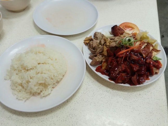 Roasted Chicken Leg, Char Siew And Chicken Liver 7.4nett