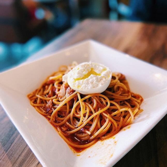 Spaghetti Amatriciana with Burrata