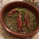 The Black Rice with Grilled Mediterranean Prawns