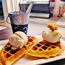 Butterscotch Cookie And Milk Honey Ice cream On Waffles