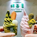 Uji Matcha Softserve w mochi & original tulip crisp VS Sakura Softserve w green tea jello & green tea tulip crisp...