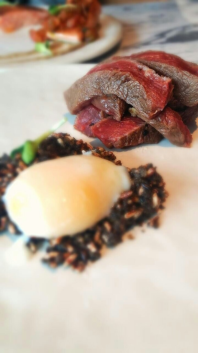 Ribeye, Mushroom Pate, Puffed Rice