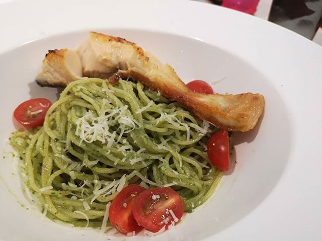 Pesto Pasta ($10 1 for 1 with #burpplebeyond, add $4 for additional seared salmon).