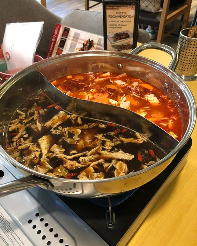 Bak Kut teh and blazing magma soup base at Ding Xian hotpot at Suntec City level 3 .