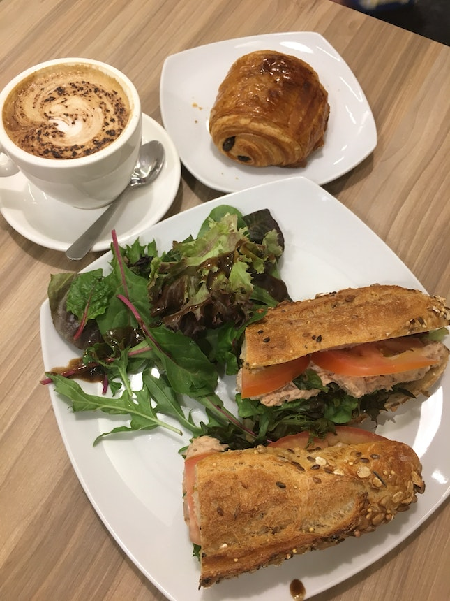 Good Sandwich And Croissant, Very Bad Coffee