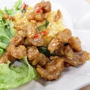 Salted egg diced chicken rice