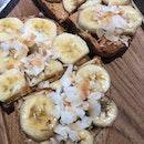 Banana & Peanut Butter Double Toast ($12)