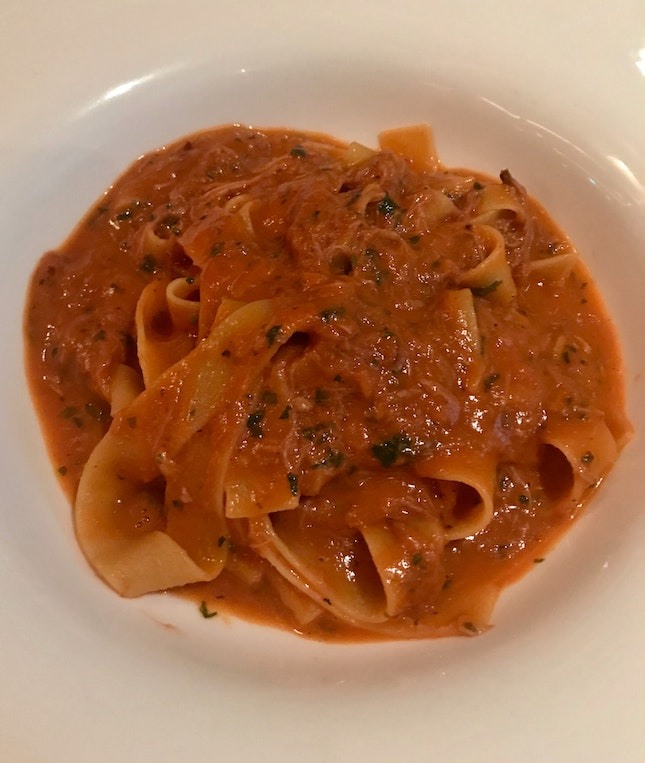 Pappardelle With Pork Ragout Marinated In Red Wine ($30)