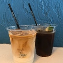 Cereal Milk Latte (L) ; Coconut Cold Brew (R)