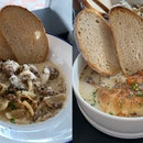 L: Hearty Meatballs On Toast ($18); R: Summer Chicken Stew ($18)