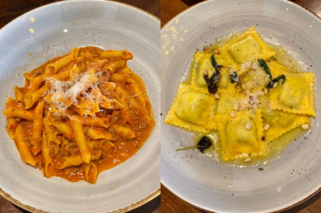 Pork Bolognese Garganelli ($28) ; Spinach Ricotta Ravioli ($24)