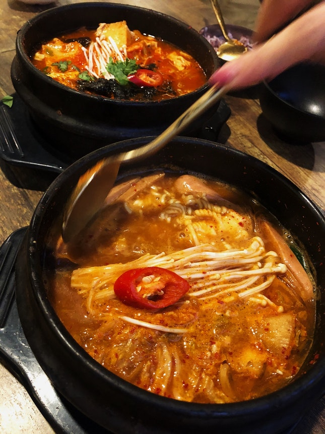 Spicy Tofu Soup & BudaeJigae ($13-14)
