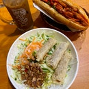 Noodles With Spring Roll ($7), Grilled Chicken Banh Mi ($7.50), Vietnamese Coffee ($3.50)