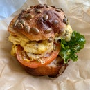 Cheddar Omelette, Leek Onion, Kale Sandwich ($10)