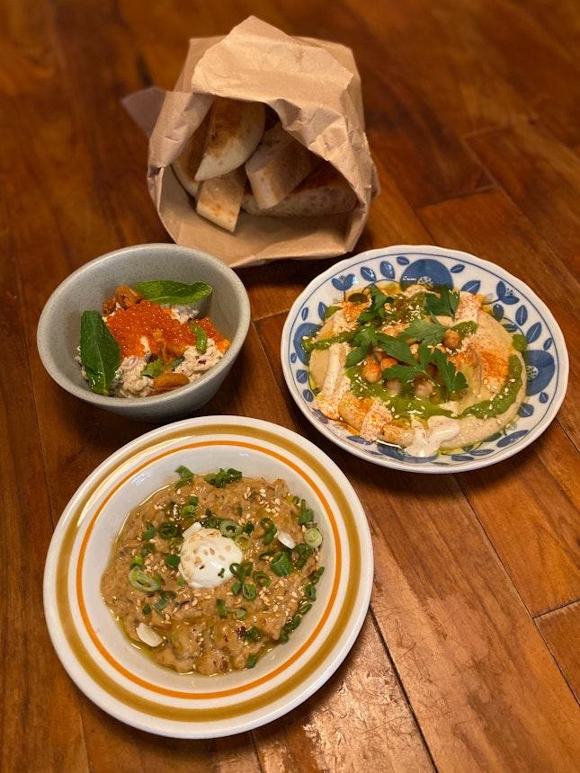 Mezze - Chipotle Babaganoush ($12), Hummus ($10), Crab Tzatziki ($16)
