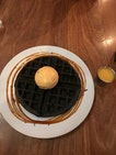 Charcoal Waffle With Salted Egg Drizzle & Sorbet