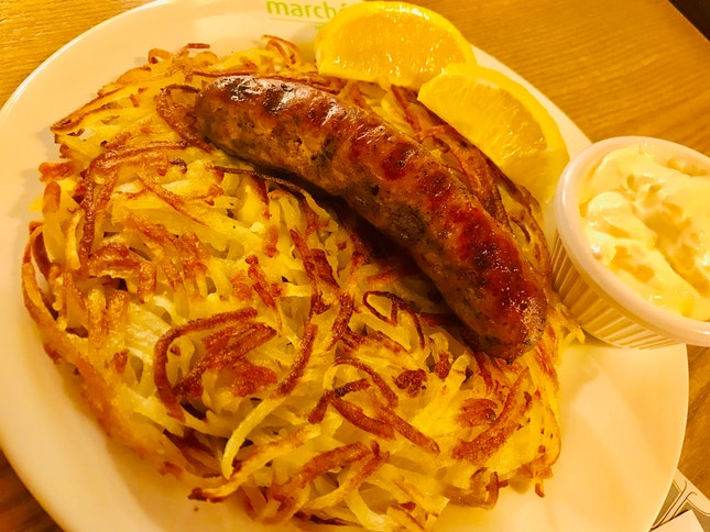 Swiss Rosti With Garlic Pork Sausage